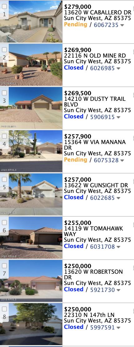 14228 W Caballero Dr   Sun City West, AZ 85375 comp list