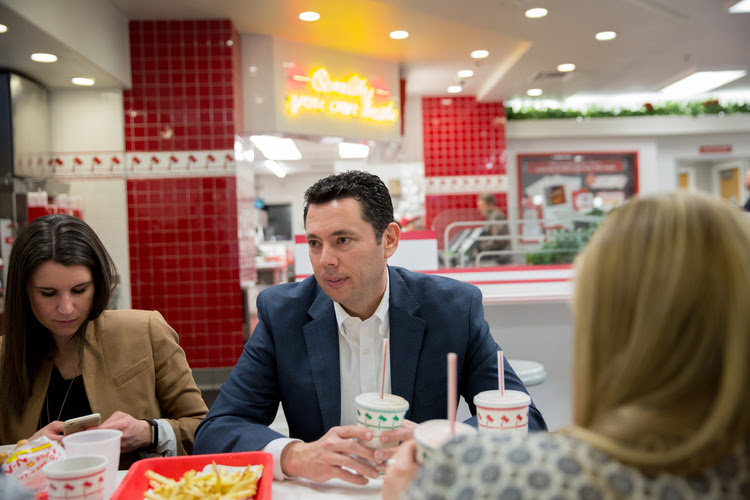 Jason Chaffetz eats with staff at In-N-Out Burger after a town hall in Cottonwood Heights, Utah, last Thursday night. (Kim Raff for The Washington Post)</p>