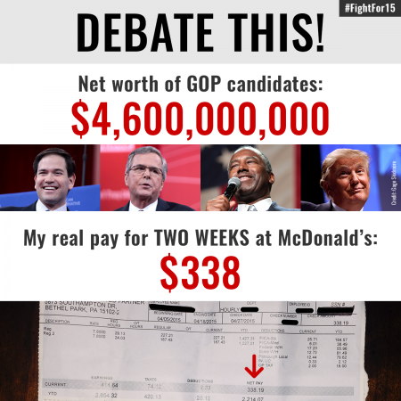 DEBATE THIS: Net worth of GOP candidates: $4.6 Billion. My real pay for TWO WEEKS at McDonald's? $338.