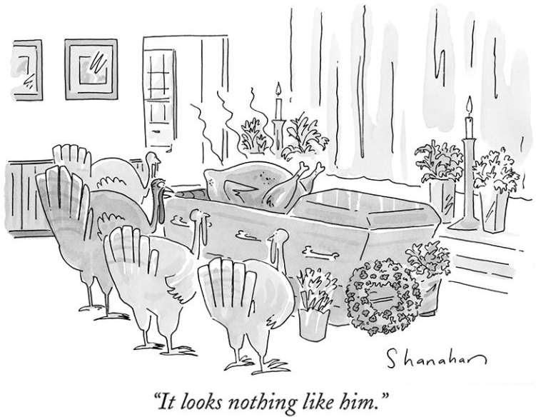 funny cartoon showing turkeys at a funeral