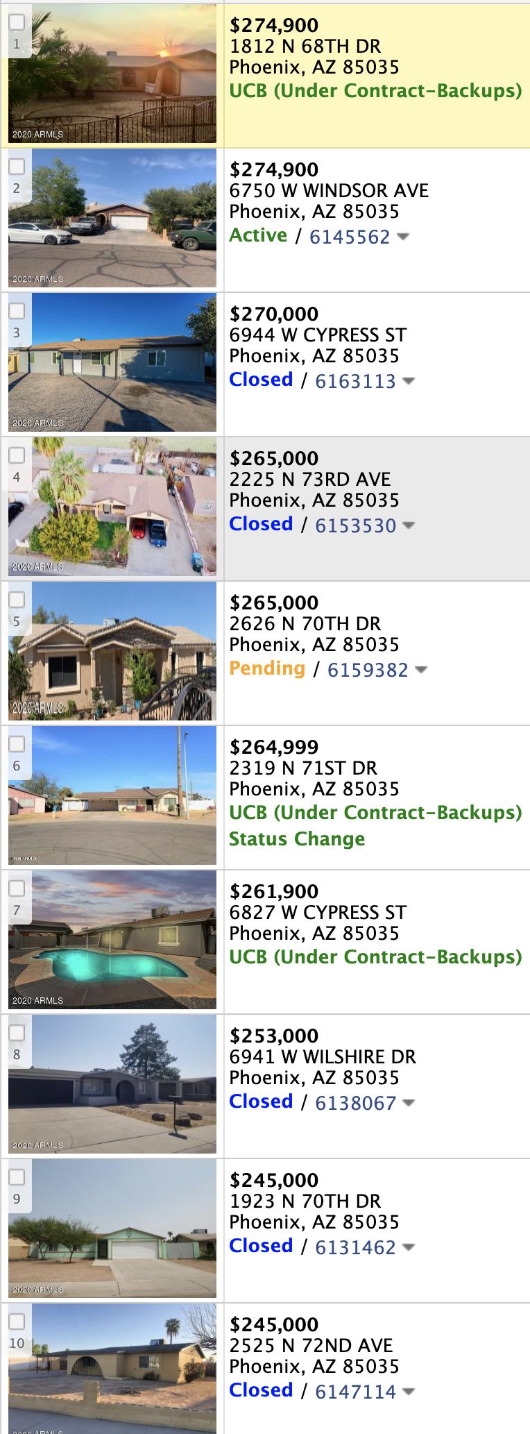 6801 W Cambridge Ave, Phoenix AZ 85035 comps list