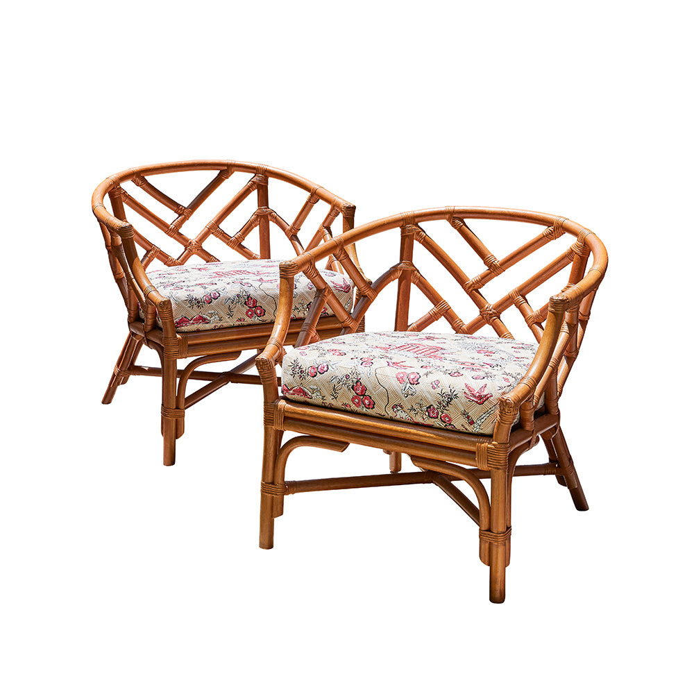 Image of Rattan Chippendale Chairs