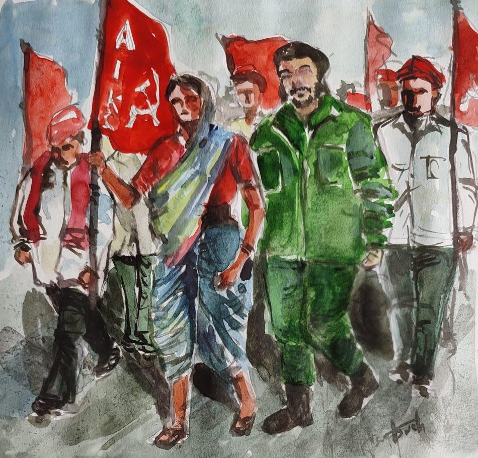Aswath Madhavan (Young Socialist Artists, India), Marching with the Peasants ('Marchando con el campesinado'), 2021.
