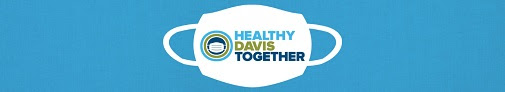 text: healthy Davis together, printed on a stylized white face mask logo on a blue background