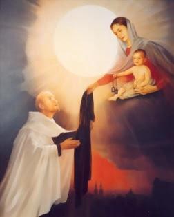 Maryja ofiarowuje szkaplerz karmelitański św. Szymonowi Stockowi
