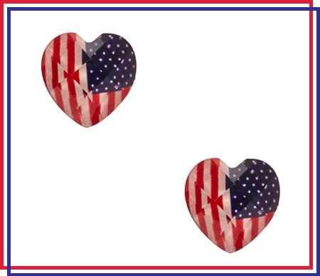 American Flag Dome Heart Stud Earrings
