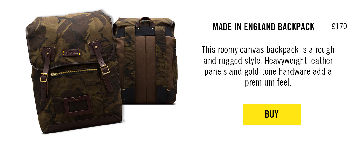 MADE IN ENGLAND CAMO BACKPACK, £170