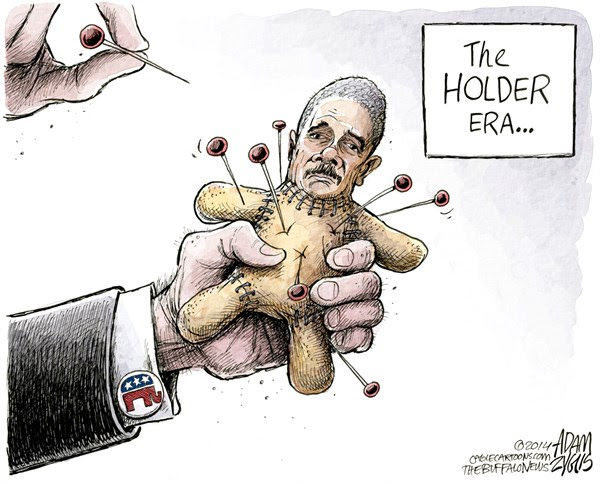 Holder Š Adam Zyglis,The Buffalo News,holder, eric, attorney general, obama, white house, resign, step down, era, gop, republicans, voodoo doll, fast and furious