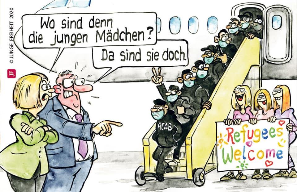 """Merkel hat uns erneut getäuscht – sie holte """"Halbstarke Flüchtlinge"""" aus  Lesbos in unser Land statt wie zugesagt Kinder und Mädchen – Refugees not  Welcome"""