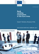 Bank lending constraints in the Euro area. European Economy. Discussion Paper 43.