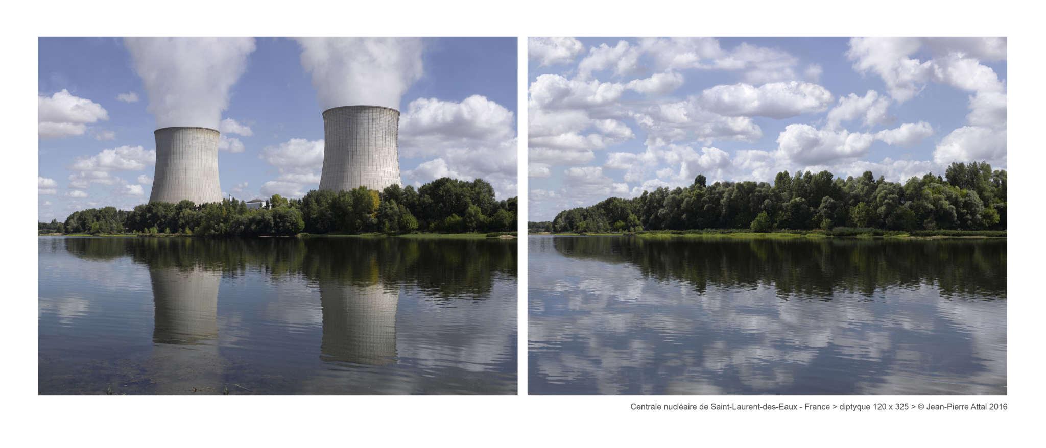 Centrale nucléaire de Saint-Laurent-des Eaux: à gauche une photo « normale », un enregistrement d'un paysage avec la centrale. A droite : une photo « fictionnelle », retravaillée numériquement, pour illustrer l'idée : « à quoi ressemblerait ce même paysage sans la centrale ».