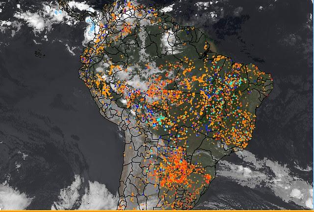 Un satélite del Instituto Nacional de Investigaciones Espaciales (Inpe) muestra los focos de fuego en Brasil el último 2 de septiembre  - Créditos: Reproducción/Inpe
