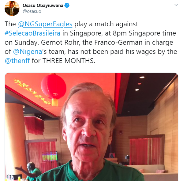 NFF denies owing Super Eagles coach Gernot Rohr three-months salary?