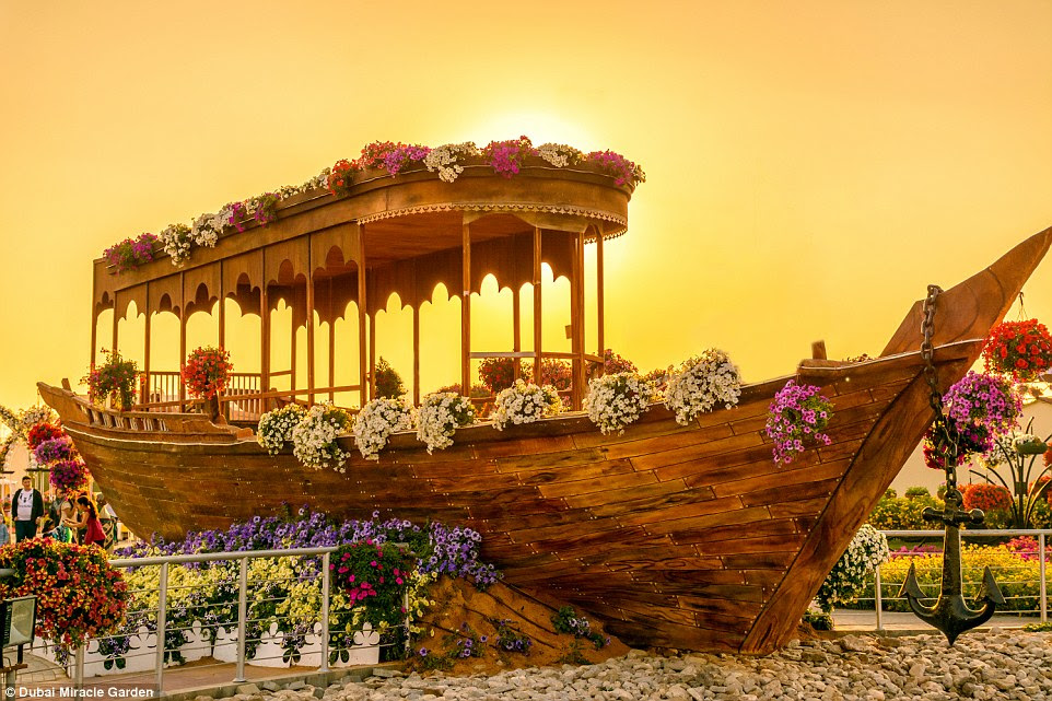 The Dubai Miracle Garden features a sensational 45 million flowers over a 18-acre site, from breathtaking flowerbeds to heart-shaped archways and adorned castles