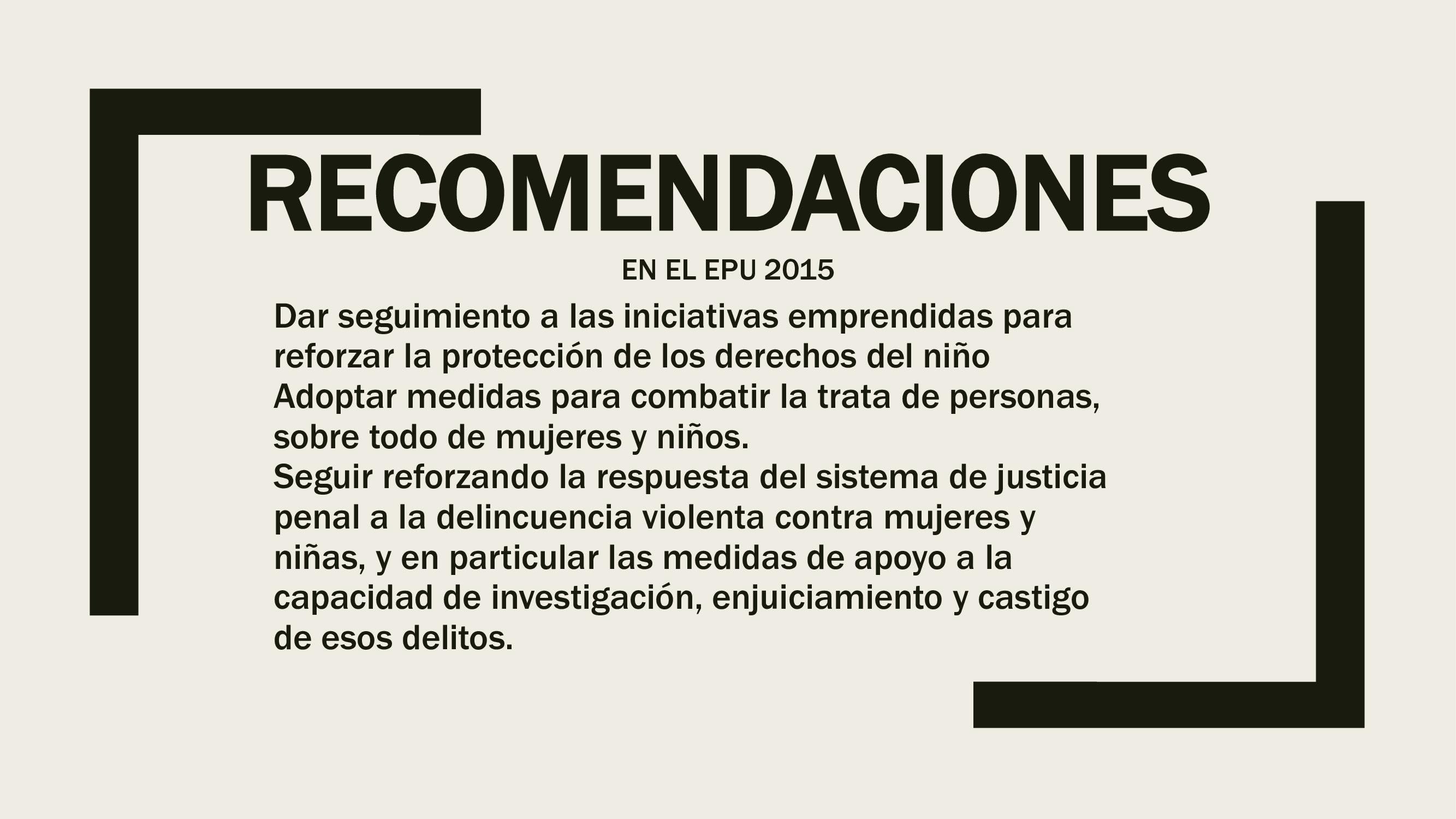 Recomendaciones en el EPU 2015 4