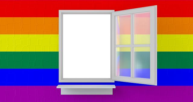 A bright rainbow surrounding an open window