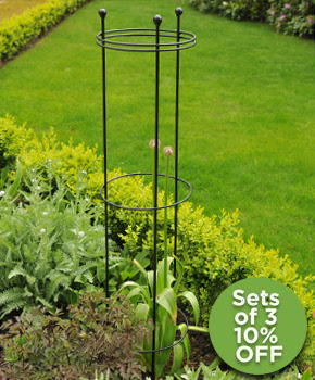 Tall Circular Plant Support Black
