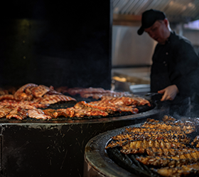 Free Editorial: Rib, rib restaurant, the process of preparing pork ribs on an open fire– Stock Editorial Photography</p><p>Editorial Use Only.</p><p>