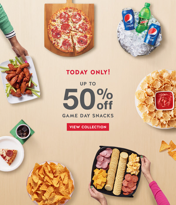 Save up to 50% on game day snacks
