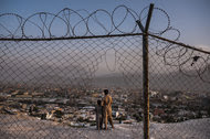A hilltop overlooking Kabul, where a $100 million Saudi-funded mosque and education complex was to be built. Construction was scheduled for completion this year, but the hilltop site remains a dusty lot where boys fly kites and drug addicts crouch beside a cemetery wall.