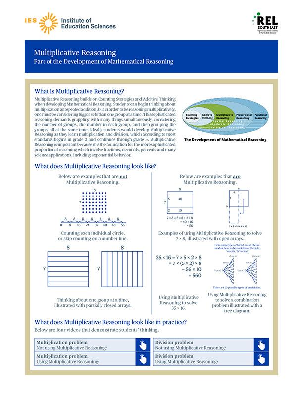 Multiplicative Reasoning: Part of the Development of Mathematical Reasoning