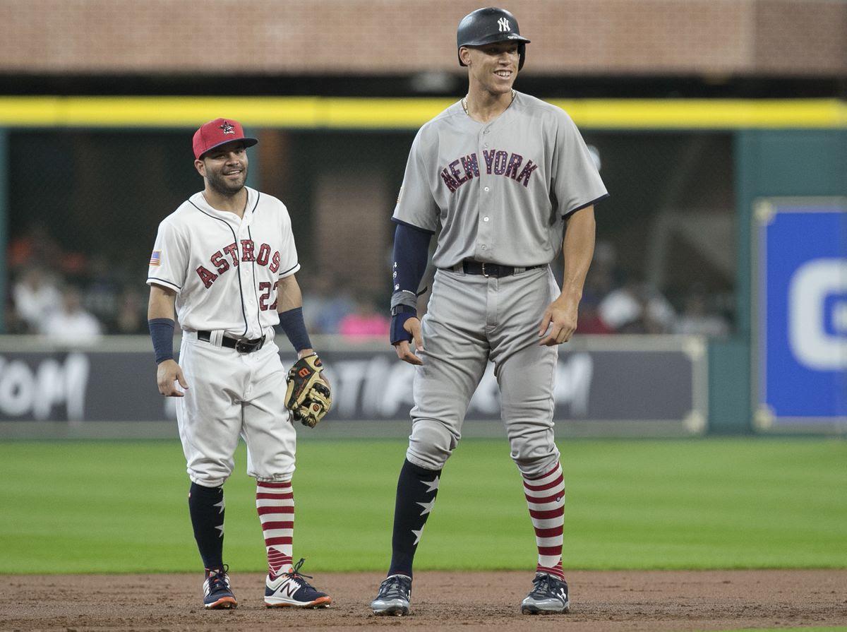 "5'6"" Jose Altuve next to 6'8"" Yankee Right Fielder Aaron Judge. Picture source: Chicago Tribune"
