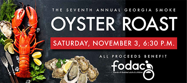 Seventh Annual Georgia Smoke Oyster Roast Saturday November 3 at 6:30 p.m.