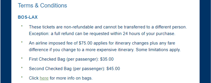 Terms & Conditions | LAX-BOS | Confirmation number for each trip component