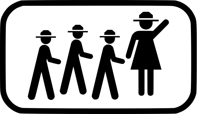 A pictogram park ranger leads a group of other pictogram park rangers