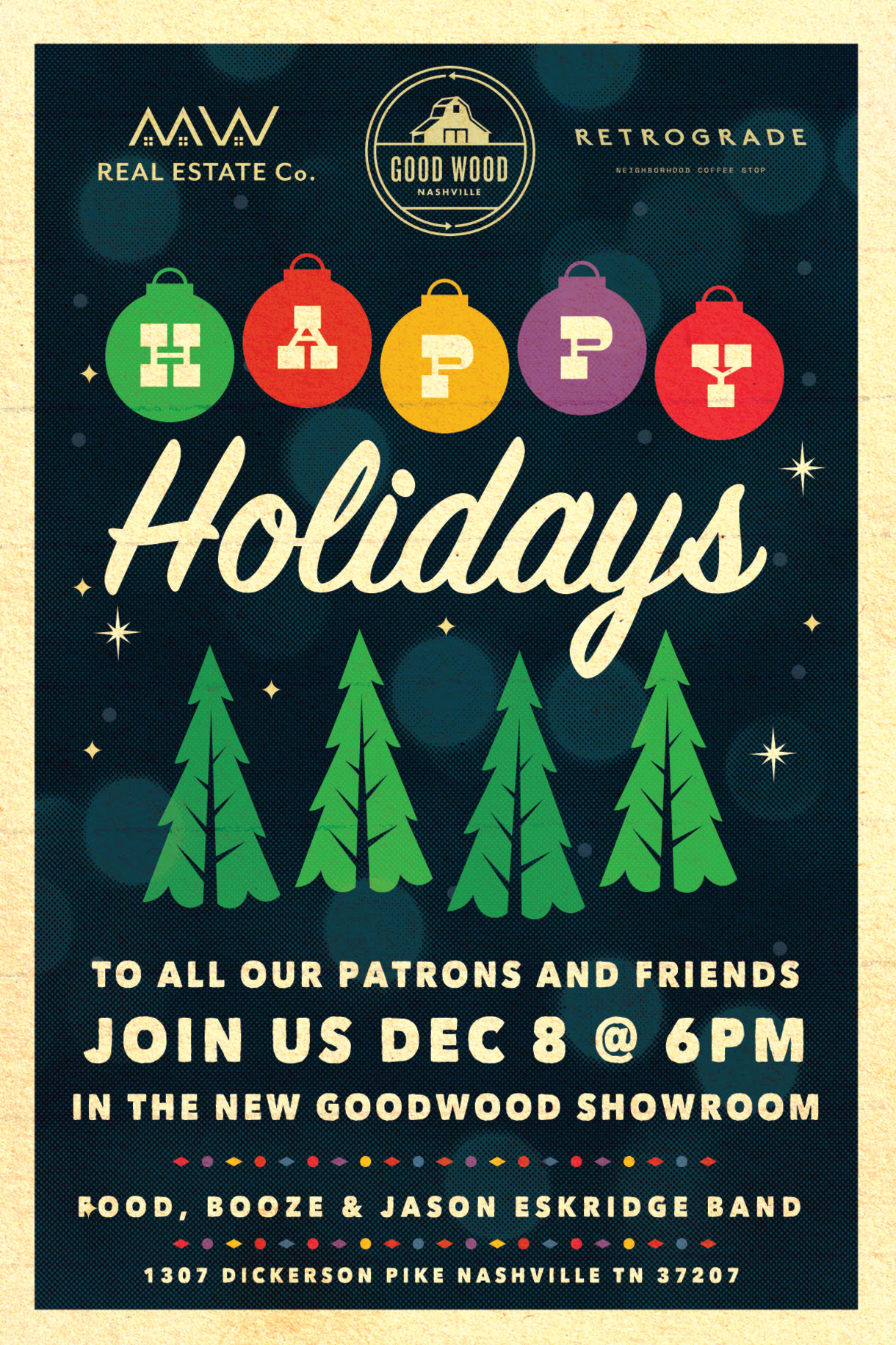You are invited to our Holiday Party Open House December 8th at 6pm.