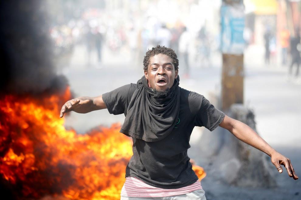 Un manifestante en la protesta contra el presidente Jovenel Moise el pasado 14 de febrero