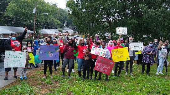 Trestletree tenants protest