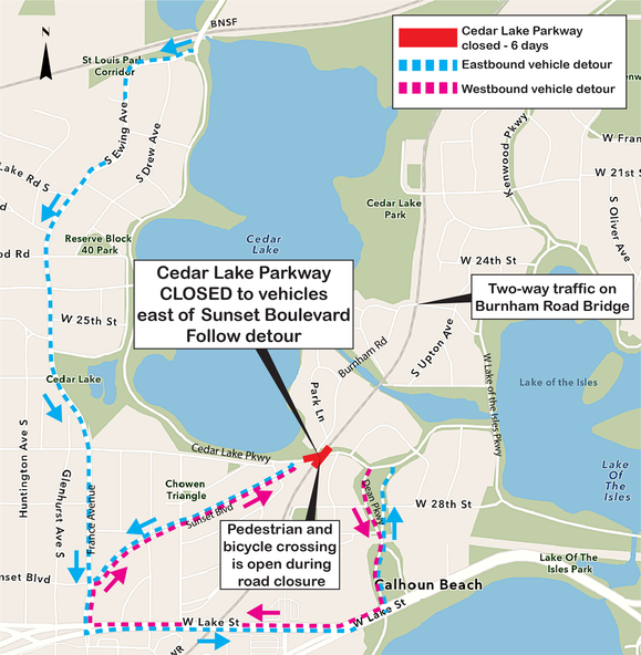 Upcoming Cedar Lake Parkway in Minneapolis Detour