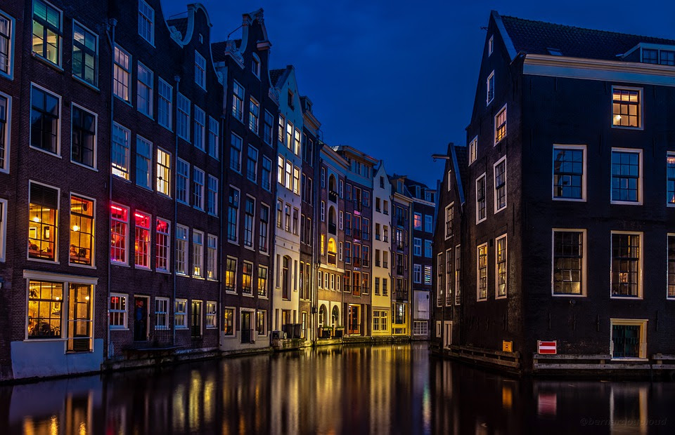 Amsterdam, Rio, Cidade, Europa, Holanda, Noite, Capital