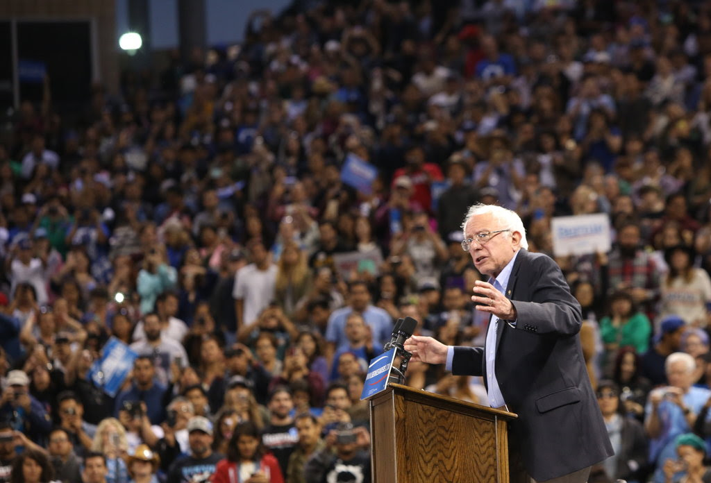 "Senator Bernie Sanders of Vermont at California State University, Dominguez Hills, in Carson on Tuesday. ""We are in till the last ballot is cast,"" he said Tuesday night."