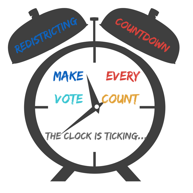 Graphic of an alarm clock with text that says: Mave every vote count. The clock is ticking.