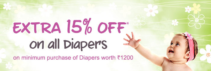 Extra 15% Off* on all Diapers