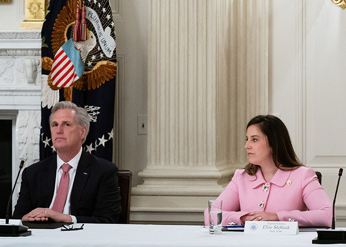 House Minority Leader Kevin McCarthy and Rep. Elise Stefanik (R-N.Y.)