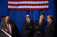 Jared Kushner, second from right, with Stephen K. Bannon, right, and other staff members as they watched from the sidelines as Donald J. Trump greeted supporters at a campaign event in Canton, Ohio, last month.