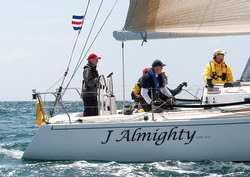 J/120 sailing start on Ensenada Race