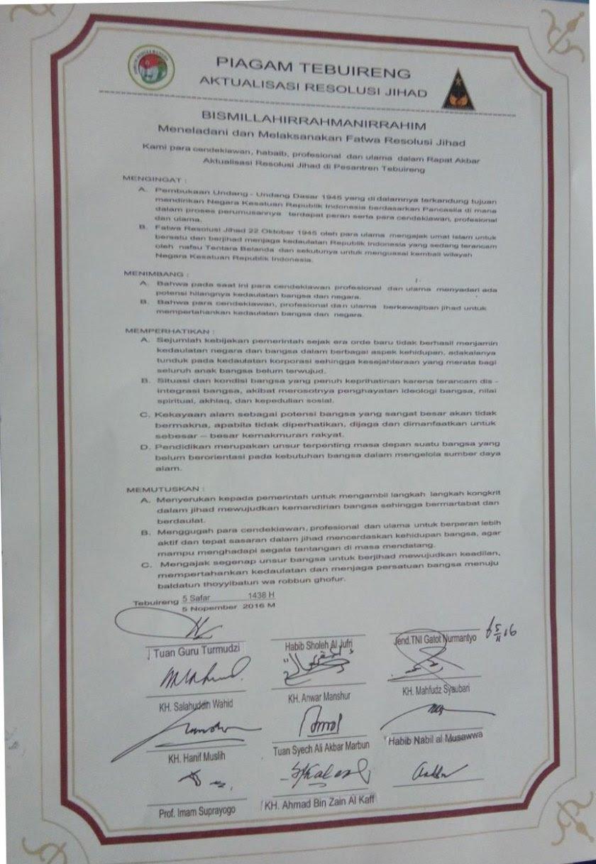 Naskah Teks Piagam Tebuireng Aktualisasi Resolusi Jihad. Foto: Kantor Berita Aswaja (KBAswaja).