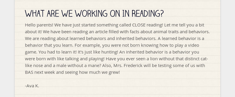 What Are We Working On In Reading? Hello parents! We have just started something called CLOSE...