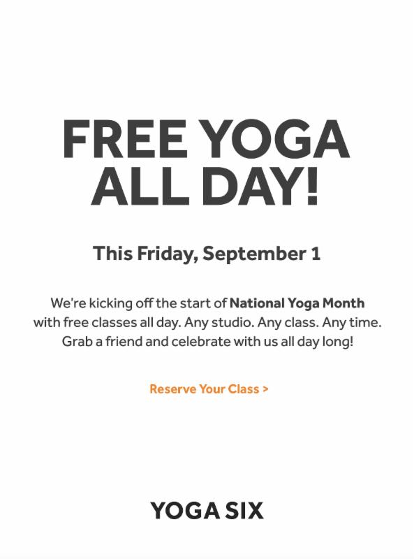 Free Classes at Yoga Six