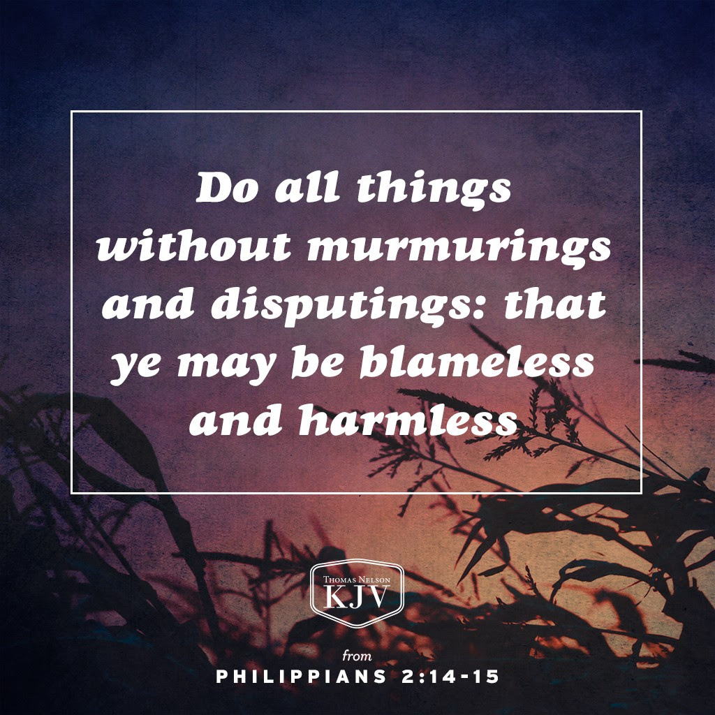 14 Do all things without murmurings and disputings:  15 That ye may be blameless and harmless, the sons of God, without rebuke, in the midst of a crooked and perverse nation, among whom ye shine as lights in the world;  16 Holding forth the word of life; that I may rejoice in the day of Christ, that I have not run in vain, neither laboured in vain. Philippians 2:14-16