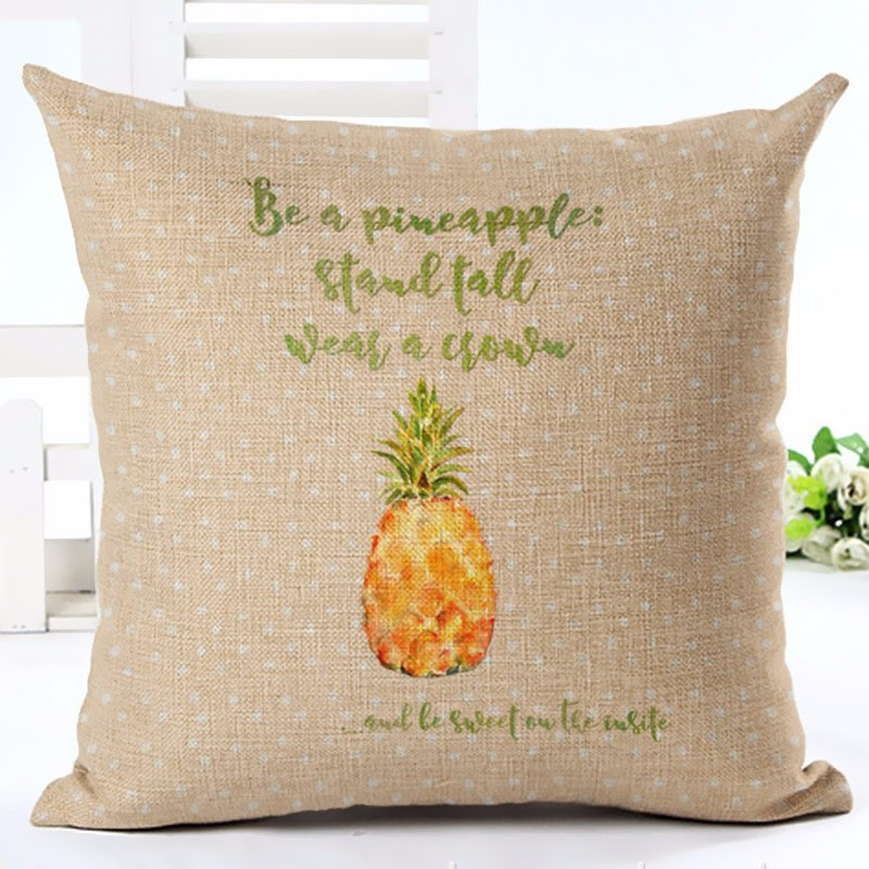 Pineapple Quote Pillow COver