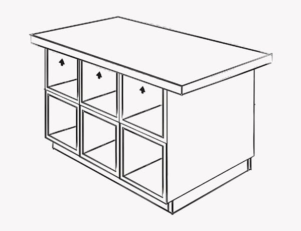 Illustration montrant où visser la base de l'îlot au plateau de table.