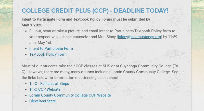 COLLEGE CREDIT PLUS (CCP) - DEADLINE TODAY! Intent to Participate Form and Textbook Policy Forms...