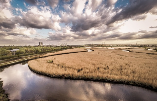 Rus Turner, drone photograph of clouds above the River Test at Nursling, Hampshire, UK. Photo: Rus Turner.