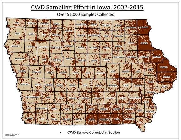 CWD sampling locations in Iowa