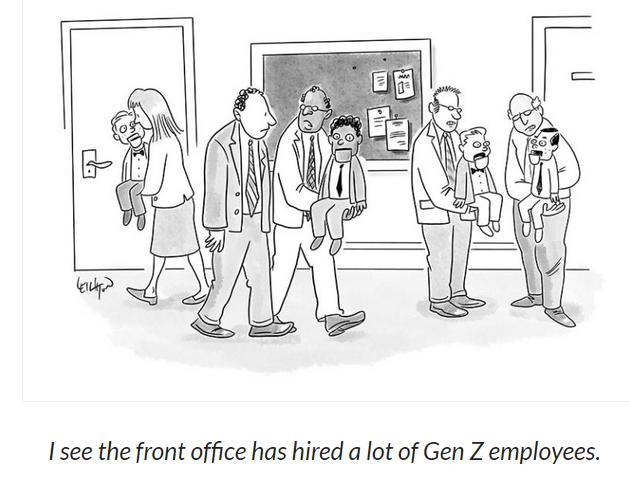 Cartoon about Gen Z showing them as dummies